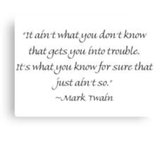 What Gets You Into Trouble Canvas Print