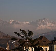 Dolomites and low-hanging clouds, view from Bolzano/Bozen, Italy by L Lee McIntyre