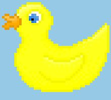 Rubber Pixel Duck - Blue Background by CraftSalad