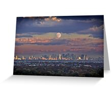 Full Moon Over New York, USA Greeting Card