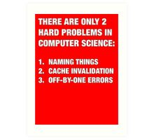 Only 2 hard problems in computer science Art Print