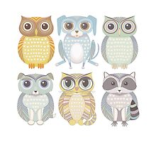Owls, Dogs, Cat, Raccoon by Jean Gregory  Evans
