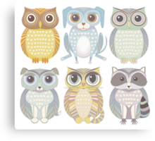 Owls, Dogs, Cat, Raccoon Canvas Print