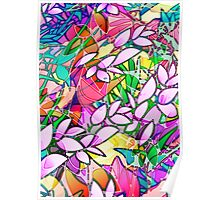 Grunge Art Floral Abstract Poster