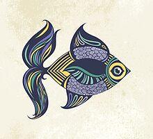Cartoon colored fish by Tatsiana Kandrashova