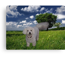 TAIL HIGH CLOUDS IN THE SKY I KNOW U SEE ME WALKING BY (CANINE-DOG) PICTRE/CARD//THROW PILLOW//& TOTE BAG Canvas Print