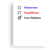 Election Ballot - Free Thinkers for Light T's Canvas Print