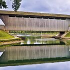 Brownsville Covered Bridge Reflection by Kenneth Keifer