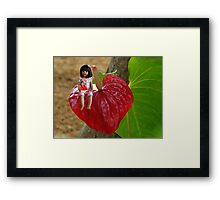 ANTHURIUM- HAWAIIN HEART FLOWER--LITTLE GIRL & WATERMELON A SUMMERS DELIGHT - PICTURE / CARD Framed Print