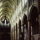 Nave of Cathedral St Etienne Chalons sur Marne France 198405060042 by Fred Mitchell