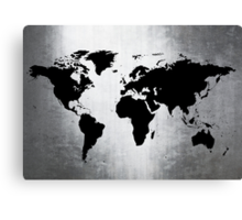 World Map Metal Canvas Print