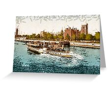 A digital painting of a Paddle Steamer passing Lambeth Palace, London, England 19th century Greeting Card