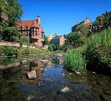 Long Exposure: The Water of Leith with Well Court (Left) & Dean Village (Right) by Miles Gray