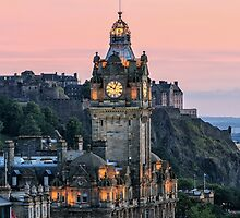 Balmoral Clocktower at Dusk, Edinburgh by Miles Gray