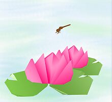Origami Lotus with a dragonfly by imagerially