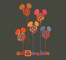 WDW Balloons Aged Throw Pillow by Florida Orange Bird