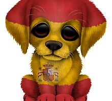 Cute Patriotic Spanish Flag Puppy Dog by Jeff Bartels