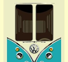 Sale for Charity Blue Teal VW Volkswagen kombi camper minibus by Latifa Salma lufa Poerawidjaja