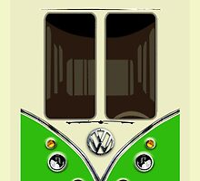 Sale for Charity Bright Green VW Volkswagen kombi camper minibus by Latifa Salma lufa Poerawidjaja