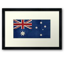 The National flag of Australia, retro textured version (authentic scale 1:2) Framed Print