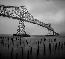 The Astoria–Megler Bridge, Astoria, Oregon.  In Black and White by mspixvancouver