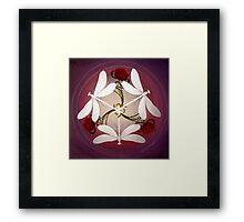 Dragonfly Kiss Mandala by Marg Thomson Framed Print