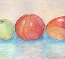 Apple Orange and Mango Watercolor  by Linda Allan