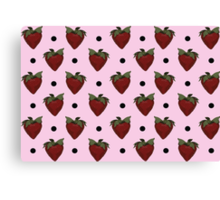 Strawberries and Black Polka Dots with Light Pink Background Canvas Print