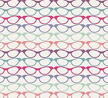 Cat Eye Glasses Pattern - Retro Waves of Color by CorrieJacobs