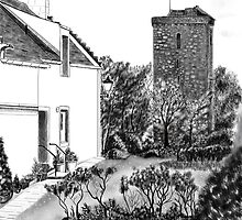 "The ""Hie Gait"" and ""St Serf's"" Tower in Dysart, Fife on the East Coast of Scotland [ Digital Architecture Illustration] by Grant Wilson"