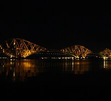Forth Rail Bridge at Night. by Lesleymc77