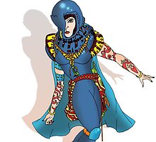 Blue Science fiction Warrior  [Pen Drawn Fantasy Figure Illustration] by Grant Wilson