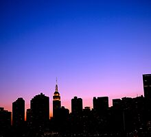 new york city skyline with purple sunset by rscognamiglio