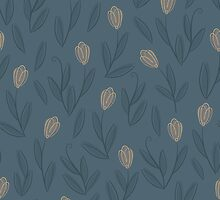 Floral blue seamless pattern with yellow tulips by Voysla