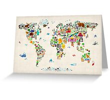 Animal Map of the World Greeting Card