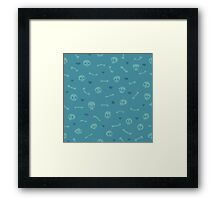 Cartoon Skulls with Hearts on Blue Background Seamless Pattern Framed Print