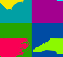 Colorful North Carolina Pop Art Map Sticker