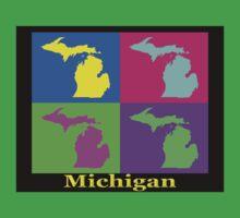 Colorful Michigan State Pop Art Map T-Shirt