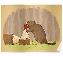 The Beaver And The Color In The Forest Poster