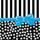 Ribbon, Bow, Dog Paws, Stripes - White Black Blue by sitnica