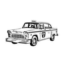 Checkered Taxi Cab Illustrastion Photographic Print