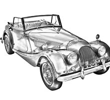 1964 Morgan Plus 4 Convertible Sports Car Illustration by KWJphotoart