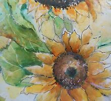 Sunflower watercolor by ursula wollenberg