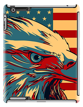 Retro American Patriotic Eagle Flag iPhone 5 Case /  iPad Case / iPhone 4 Case / Prints  / Samsung Galaxy Cases / Duvet   by CroDesign