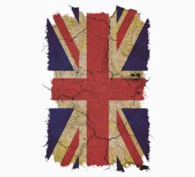 Ragged Britannia Union Jack Flag T-shirts and Stickers by Steve Crompton