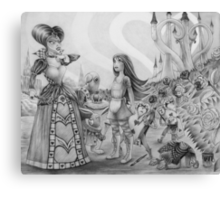 Off with their heads! (Alice and the Queen of Hearts) Canvas Print