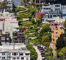 Lombard Street from Coit Tower by TomGreenPhotos