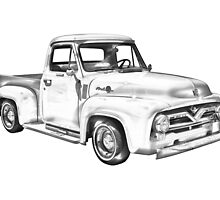 1955 F100 Ford Pickup Truck Illustration by KWJphotoart