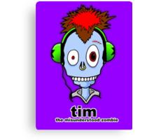 Tim...the misunderstood zombie (variation blue) Canvas Print