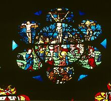 C16 Glass Crucifixion Cathedral St Etienne Chalons sur Marne France 198405060059  by Fred Mitchell